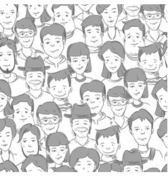 people crowd with many faces human heads vector image
