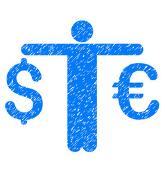 Person compare euro dollar grunge icon vector