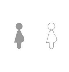 pregnant woman grey set icon vector image vector image