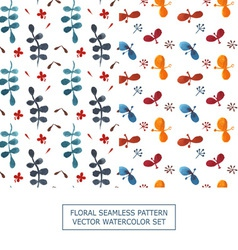 Seamless pattern watercolor set of 2 vector image