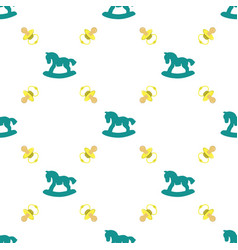 Seamless pattern with baby pacifier and rocking vector