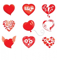 set object hearts vector image vector image