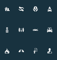 Set of simple guarantee icons vector