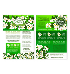 Spring garden flowers poster template design vector