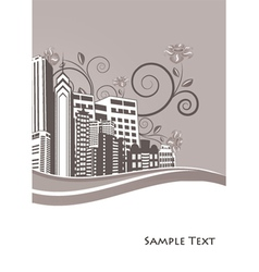 Vintage city background with floral vector