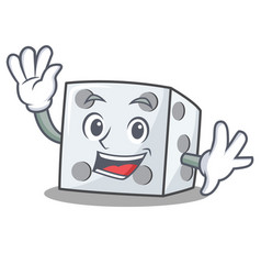 waving dice character cartoon style vector image vector image