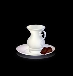 white cup and chocolate vector image vector image