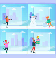 Winter posters collection vector