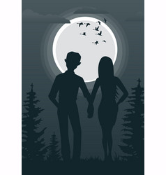 young couple looking at full moon vector image vector image