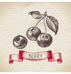 Cherry hand drawn sketch berry vintage background vector