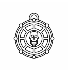 Piratical medallion with skull icon outline style vector
