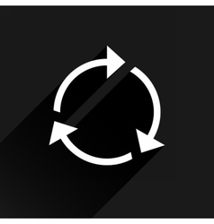 White arrow icon reset sign on black background vector