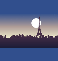 silhouette of paris at sunrise scenery vector image