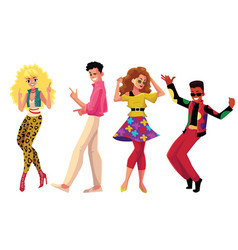 people in 1980s style clothes dancing at retro vector image