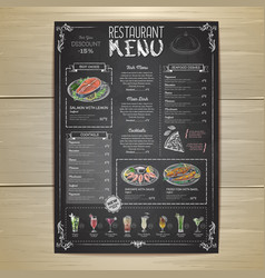 chalk drawing restaurant menu design vector image
