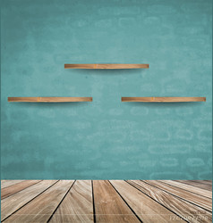 Empty wood shelf on blue brick wall vector