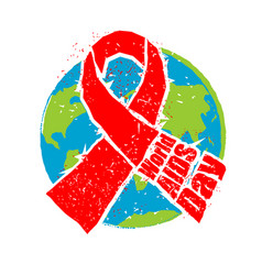 World aids day red ribbon in grunge style spray vector