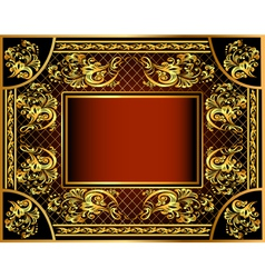 vintage background frame with gold vector image