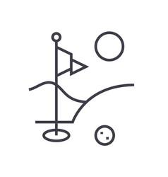 golf field flat line  concept vector image