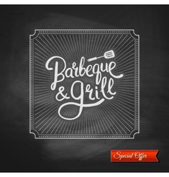 Poster of barbecue and grill on black chalkboard vector