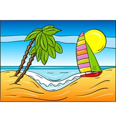 Summer beach with palm and sailboat vector