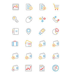 Business and finance colored outline icons 5 vector
