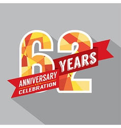 62nd Years Anniversary Celebration Design vector image