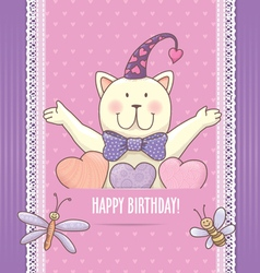 Birthday card with cat vector