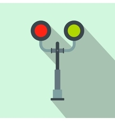 Railway crossing light flat icon vector