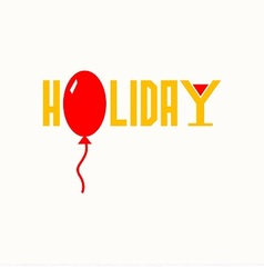 Logo with word holiday and balloon vector