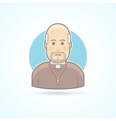 Catholic priest clergyman in a cassock icon vector