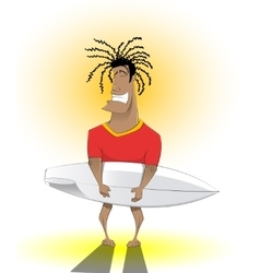 Surfer man with surfing board vector