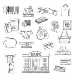 Money banking services shopping sketch symbols vector image