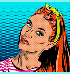 Pop art woman - on a polka-dots background vector