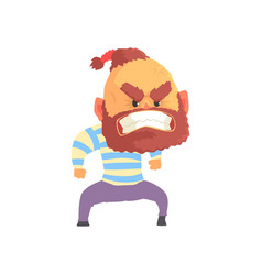 angry aggressive bearded man cartoon vector image vector image