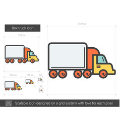 Box truck line icon vector