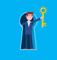 business man looking out of giant keyhole and vector image vector image