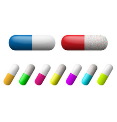 Capsules set pharmacy drugs icons medicament vector