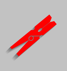 Clothes peg sign red icon with soft vector