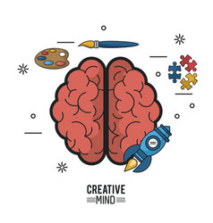 Colorful poster of creative mind with brain top vector