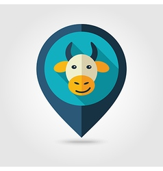 Cow flat pin map icon animal head vector