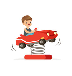 Cute little boy having fun on red plastic rocking vector