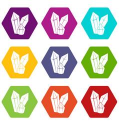 diamonds icon set color hexahedron vector image