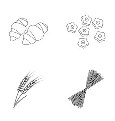 different types of pasta types of pasta set vector image