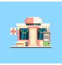 Drugstore front in christmas vector