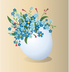 Easter egg with flowers vector