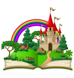 fairy castle appearing from the old book vector image