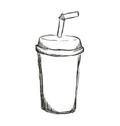 figure soda beverage in the cinema movie scene vector image