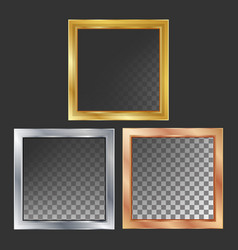 gold silver bronze copper metal frames vector image