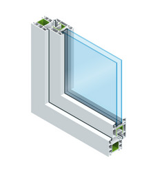 Isometric cross section through a window pane pvc vector